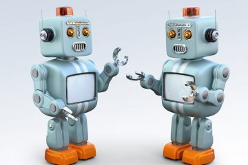 Two retro robots talking to each other